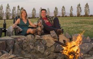 Doubleback, Drew and Maura Bledsoe wine fireside
